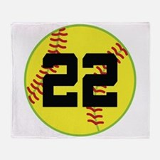 Softball Sports Player Number 22 Throw Blanket