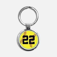 Softball Sports Player Number 22 Round Keychain