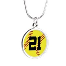 Softball Sports Player Number 21 Silver Round Neck