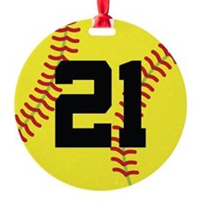 Softball Sports Player Number 21 Ornament