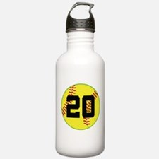 Softball Sports Player Number 20 Water Bottle