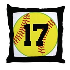 Softball Sports Player Number 17 Throw Pillow