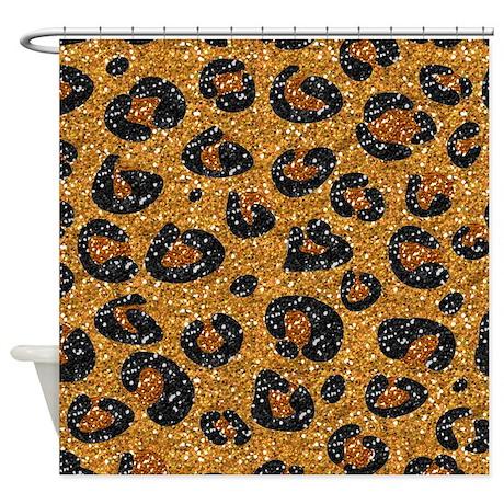 gold black leopard print shower curtain by leehillerdesigns