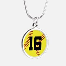 Softball Sports Player Number 16 Silver Round Neck
