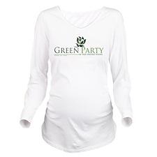 Cute Green party Long Sleeve Maternity T-Shirt