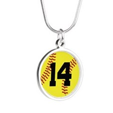 Softball Sports Player Number 14 Silver Round Neck