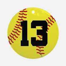 Softball Sports Player Number 13 Ornament (Round)