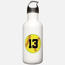 Softball Sports Player Number 13 Water Bottle