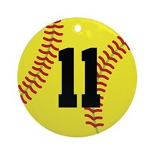 Softball Sports Player Number 11 Ornament (Round)