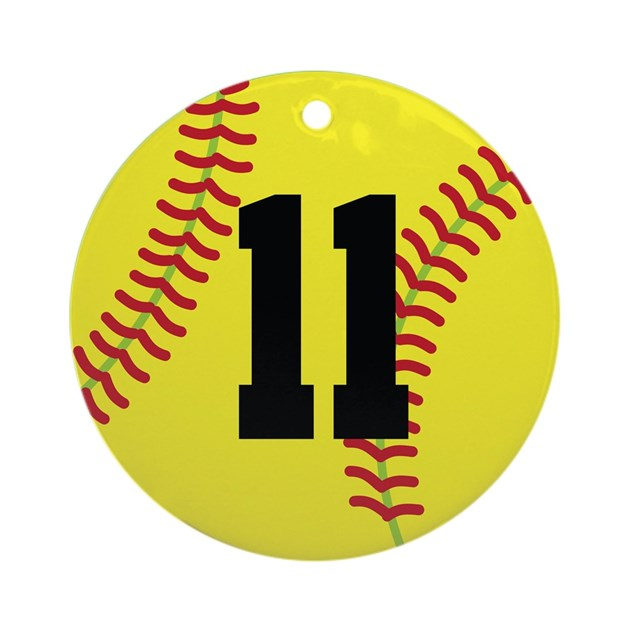 Softball Sports Player Number 11 Ornament (Round) by ...