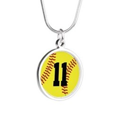 Softball Sports Player Number 11 Silver Round Neck