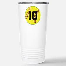 Softball Sports Player Number 10 Travel Mug