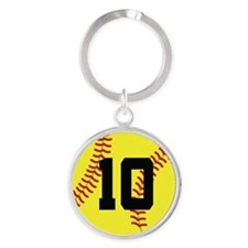 Softball Sports Player Number 10 Round Keychain