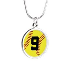 Softball Sports Player Number 9 Silver Round Neckl
