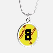 Softball Sports Player Number 8 Silver Round Neckl