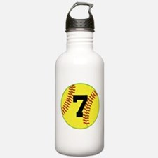 Softball Sports Player Number 7 Water Bottle