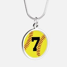 Softball Sports Player Number 7 Silver Round Neckl