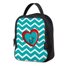 Nurse Medical Chevron Blue Neoprene Lunch Bag
