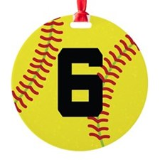 Softball Sports Player Number 6 Ornament