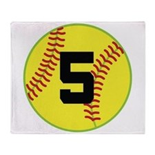 Softball Sports Player Number 5 Throw Blanket