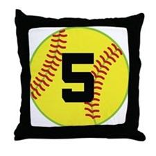 Softball Sports Player Number 5 Throw Pillow