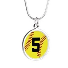 Softball Sports Player Number 5 Silver Round Neckl