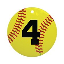 Softball Sports Player Number 4 Ornament (Round)