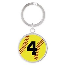 Softball Sports Player Number 4 Round Keychain