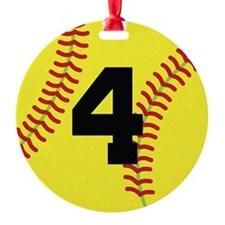 Softball Sports Player Number 4 Ornament