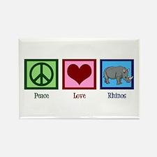 Peace Love Rhinos Rectangle Magnet