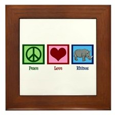 Peace Love Rhinos Framed Tile