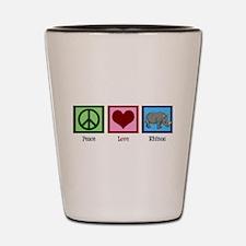 Peace Love Rhinos Shot Glass