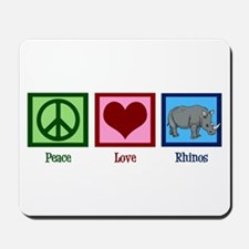 Peace Love Rhinos Mousepad