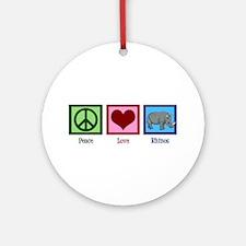 Peace Love Rhinos Ornament (Round)