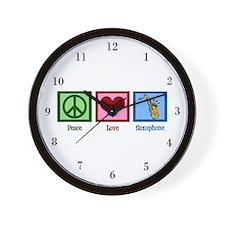 Peace Love Saxophones Wall Clock