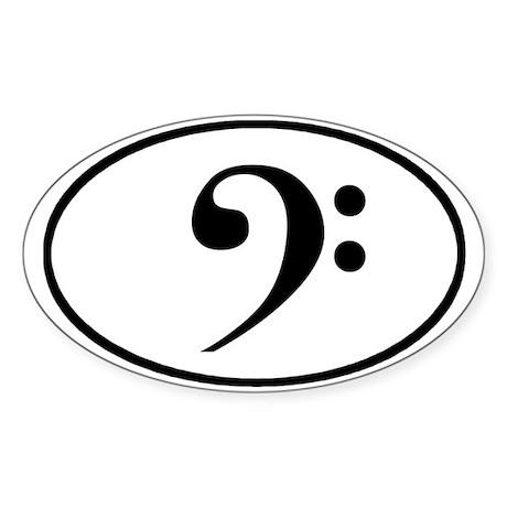 Bass clef oval sticker