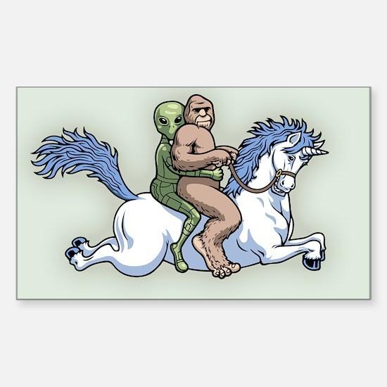 Bigfoot Alien Unicorn Sticker (Rectangle)