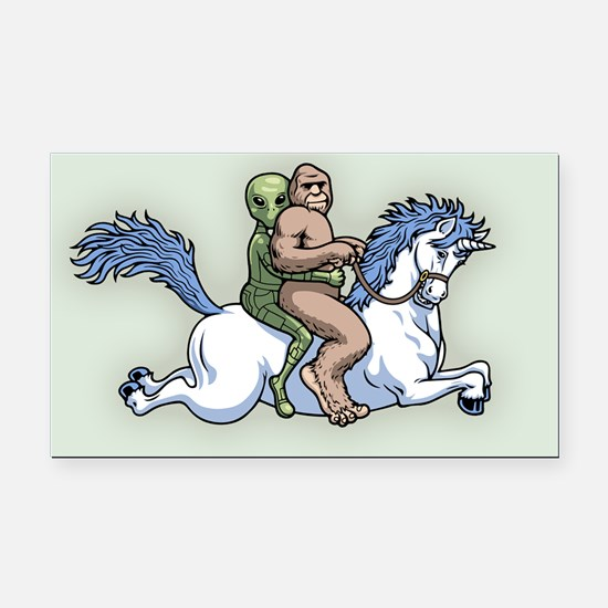 Bigfoot Alien Unicorn Rectangle Car Magnet