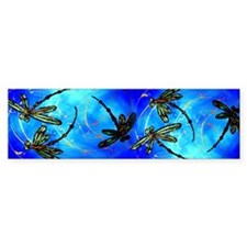 Dragonfly Flit Electric Blue Bumper Bumper Sticker