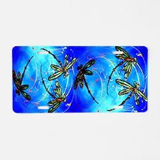 Dragonfly Flit Electric Blue Aluminum License Plat