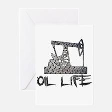 Diamond Plate Oil Life Pumpjack Greeting Cards