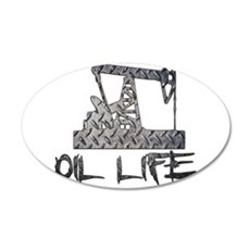 Diamond Plate Oil Life Pumpjack Wall Decal