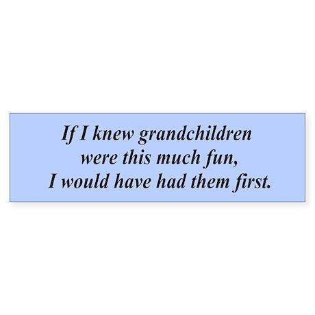 If I knew grandchildren... Bumper Sticker