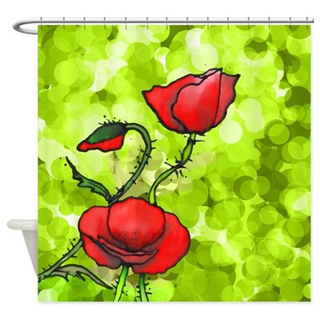 Red Poppies Shower Curtain By POLGANIDESIGN