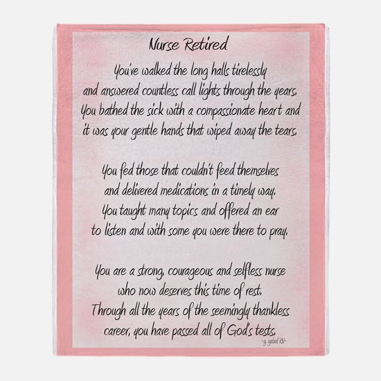 Nurse Retired Poem Throw Blanket