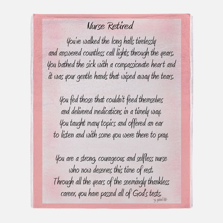 Nurse Retired Poem Throw Blanket