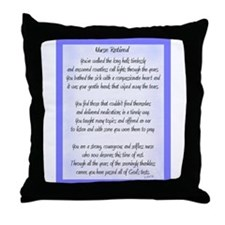 Nurse Retired Poem Blue Throw Pillow