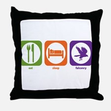 Eat Sleep Falconry Throw Pillow