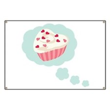 Valentine Cupcake Hearts Banner