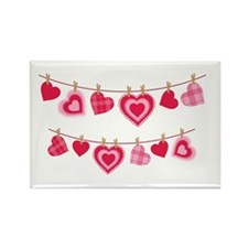 Doily Hearts Clothes Line Magnets